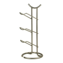 Spectrum Diversified Designs - 3 Bottle Euro Wine Rack, Satin Nickel - Spectrums Euro 3-Bottle Wine Rack combines a stylish look with space-saving convenience. The unique design keeps wine bottles at the proper angle to help prevent corks from drying. Made of sturdy steel, this wine rack will add a modern touch to your home.