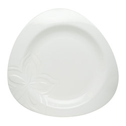 Red Vanilla - Red Vanilla Clematis White Porcelain Dinner Plates (Set of 6) - These porcelain plates have a great shape mean you get fashion at a value. This white dinner plate set is made from durable porcelain that is dishwasher safe.