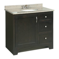 PREMIER - Premier 106724 Sonoma RTA Vanity, 36-Inch, Espresso Finish - Ready-to-assemble Cam-lock connectors for fast and easy assembly Solid wood door frames and drawer fronts Full extension ball bearing drawer glides Satin nickel hardware vanity; 36 inch; espresso; ready to assemble