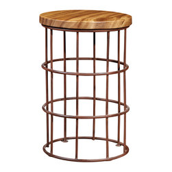 Artemano - Round Wood Stool with Metal Lattice Frame - This round wood and metal stool is a multi-functional seat that can be used in several other capacities, such as a decorative table or a footrest. It is lightweight enough that it can easily be transferred from room to room but very sturdy nonetheless. The twelve inch circular piece of suar wood that acts as a seat sits a top an antique-looking metal lattice. This stool can be used just as cohesively outdoor as indoor.