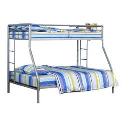 Ameriwood - DHP Twin over Full Bunk Bed in Silver - Ameriwood - Bunk Beds - 5418096 - Simple sleek secure stable and space-saving DHP's Dorel Twin-Over-Full Metal Bunk Bed meets all your needs and expectations. Easy to assemble the bunk bed has been designed for the utmost safety providing full-length guardrails and a ladder that attaches to the frame. Accommodating one full and one twin mattress the silver metal frame will last through years of rough play whether hosting twins friends family or siblings.