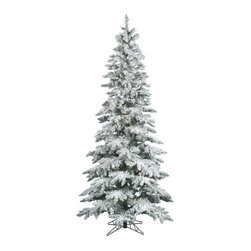 Vickerman - Flocked Utica Fir 6.5' Artificial Christmas Tree with LED Lights - Features: -Artificial Christmas tree. -Flocked Utica Fir collection. -270 Warm white wide angle LED lights. -744 Tips. -Heavy duty metal stand. -Eco friendly. -Assembly required. -Manufacturer provides 10 years construction warranty on tree and 5 years warranty on light.