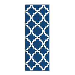 Tayse Rugs - Plush Runner Rug in Navy - Machine made. Plush and high density feel. Easy to care and durable. Vacuum and spot clean. Made from polypropylene. Pile height: 0.39 in.. 2 ft. 7 in. L x 7 ft. 3 in. W (10 lbs.)Contemporary home decor frieze rug features exotic and delightful Moroccan-influenced lattice design on relevant colors. Offers versatility for an interesting addition to either traditional or contemporary home decor.