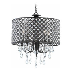 Crystal Elegance - A striking modern drum shade pendant light with crystals. Width is 17-inches by 20-3/4-inches in height.