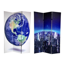 Oriental Unlimted - Double Sided 6 ft. Tall Earth Canvas Folding - One double-sided divider, both sides shown in image. Embrace the beauty of our planet with these powerful, creative art photos of Mother Earth. On the front is a stylishly edited view of the New York skyline, emphasizing the curvature of the horizon, under a canopy of bright stars peering down through the troposphere. The image on the back is a topographically accurate 3-D rendering. Depicts the deep blue oceans, tan mountain ranges, and silvery cloud formations of the western hemisphere, using images from NASA's Earth Observatory. These larger than life interior design elements will bring the splendor of the Blue Planet to life in your living room, bedroom, dining room, or kitchen. This 3 panel screen has different images on each side. High quality wood and fabric covered room divider. Well constructed, extra durable, kiln dried Spruce wood frame panels, covered top to bottom, front, back and edges. With tough stretched poly-cotton blend canvas. 2 Extra large, beautiful art prints - printed with fade resistant, high color saturation ink, creating 2 stunning, long lasting, vivid images, powerful visual focal points for any room. Amazingly inexpensive, practical, portable, decorative accessory. Almost entirely opaque, double layer of canvas, providing complete privacy. Easily block light from a bedroom window or doorway. Great home decor accent - for dividing a space, redirecting foot traffic, hiding unsightly areas or equipment, or for providing a background for plants or sculptures, or use to define a cozy, attractive spot for table and chairs in a larger room. Assembly required. 15.75 in. W x 70.88 in. H (each panel)