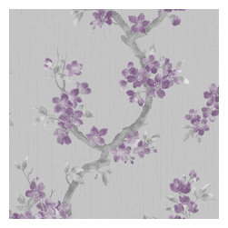 Graham & Brown - Mercutio Plum/Grey Wallpaper - Mercutio is a delicate floral and foliage design on a heavyweight, fabric effect background. A plum and grey colour way with highlights of silver brings the flowers to life and creates a wallpaper that is suitable on all 4 walls or as a feature.