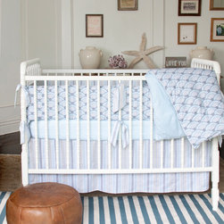 Wave Diamond Nursery Crib Bedding - Sophisticated and serene, this blue-gray palette creates a hushed calm. The simple arching pattern paired with a quiet stripe almost seems to whisper a lullaby. Set includes padded bumper, tailored duster and fitted crib sheet. Made in the USA.