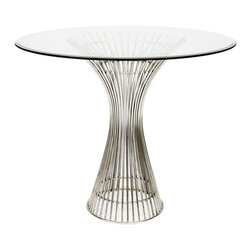 """Worlds Away - Worlds Away Polished Stainless Side Table 42""""Dia Top POWELL SS42 - Worlds Away Polished Stainless Side Table POWELL SS42"""