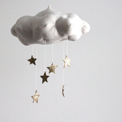 Gold Star Cloud Mobile by Baby Jives Co. - Happy handmade goods are always wonderful accents. I love the cloud form base of this hanging mobile, and the dangling gold stars are just perfect.