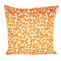 Design Accents - Leopard Orange Cotton Linen 22 x 22 Decorative Pillow - - Trendy leopard print design on hand embroidered linen pillow.  - Cover Material: Cotton Linen pillow cover  - Fill Material : Down feather insert  - Cleaning/Care: Dry Clean Only  - Fabric Material: Cotton Linen Design Accents - KSS-0128-Leopard Orange