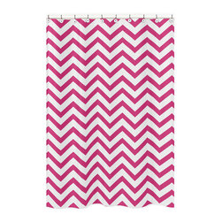 Sweet Jojo Designs - Sweet Jojo Designs Hot Pink/ White Chevron Zigzag Shower Curtain - Add a touch of style and a splash of color to your bathroom with the Sweet Jojo Designs chevron shower curtain in a hot pink and white finish. This brushed microfiber curtain is machine washable for repeated use and convenience.