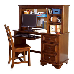 Lea Industries - Lea Deer Run Computer Desk with Hutch in Brown Cherry - Welcome to the Deer Run furniture collection. This is an exciting collection of youth furniture that offers up brand new ways to think about sleep, study and storage. Unique extensions for the traditional bunk bed and lift bed create even more sleep options that utilize space. Case pieces fit underneath and around these beds so you can create a whole room setting in a limited amount of space. The brown cherry color finish and antiqued pewter hardware add a classic lifestyle look to this line. Multiple sleep, study and storage options make Deer Run a great collection for any age range. We are sure you will find a room set up that works for your child. Safety is one of the key elements parents look for when buying products for their children. As a supplier of children's furnishings, we are committed to ensuring our products meet or exceed the safety requirements defined by the Consumer Product Safety Commission and the ASTM. Design and function combined with safety features makes the Deer Run collection an ideal choice for any child's room.