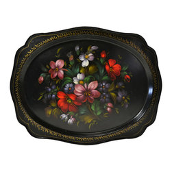 Lavish Shoestring - Consigned Zhostovo Painted Flowers Black Tray, Vintage Russian - This is a vintage one-of-a-kind item.