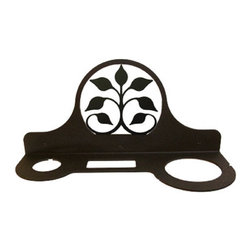 Village Wrought Iron - Village Wrought Iron HD-109 Leaf Fan Hair Dryer Rack - Decorative, functional and long lasting handcrafted products for your home carefully made using the finest materials and time-tested methods of craftsmanship. Quality and durable coated products have a baked on powder coating to ensure that you may enjoy each piece for many years. Toilet Tissue Holder Measurements Are Approximate. Proudly crafted in the USA. Material is Handcrafted Iron. Finish is a Flat Black Powder Coated Iron for that long lasting appeal. Silhouette Sizes Vary Slightly. Dimensions are approximately: 5 1/2 In. W x 8 In. H.  x 3 1/2 In. D.