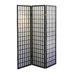 ORE International - 3-Panel Room Divider in Black Finish - Folds for easy storage. Rice paper panels. Elegant and sophisticated color palette. Wood veneer frame . Made of wood composite. 50 in. L x 6 in. W x 70 in. H (10 lbs.)Define a space or create privacy with this Japanese-inspired room divider.Ideal for creating an element of privacy or for adding architectural interest to your decor, this striking folding room divider will be a spirited way to enhance your space.
