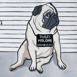 Custom Pet Portrait, Humorous by Mandas Art Studio - I can't get over the jailbird theme going on here. Mutt shots? Amazing. My husband and I have our passport photos framed in our house, they look just like mug shots. I think a gallery of family mug shots would be awesome.