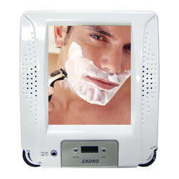 """Zadro - Z'Fogless Stereo Shower Radio Fog Free Mirror with Digital Clock - The ZFogless Stereo Shower Radio combines a high quality Fogless Shower Mirror with a Water Resistant AM/FM Shower Radio all in one stylish design. Features: -Water resistant digital tuning AM/FM stereo radio. -Unbreakable mirror. -LCD digital clock. -Built-in antenna. -Suction cup and rope mounts for easy installation. -3 AA batteries. -White finish. Specifications: -Mirror surface dimensions: 4.5"""" Height x 4"""" Width. -Overall Dimensions: 7.75"""" Height x 6.75"""" Width x 1.5"""" Depth."""