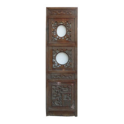 Golden Lotus - Chinese Flowers Open Carving Wood Panel Decor - This is an old Chinese wood panel with flowers open carvings around. It is rustic with worn off marks and wood crack. Loose part will be fixed.