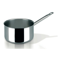 Frieling - Profiserie Saucepan, 3.0 qt. - Commercial grade thick aluminum core sandwiched between 18/10 stainless steel