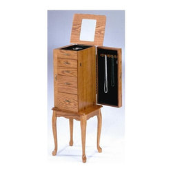 Bernards - Jewelry Armoire w Flip Top Mirror in Oak Fini - 2 Swing-out doors with hooks. 4 Felt-lined working drawers. Made of wood. 41 in. H (44 lbs.)