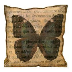 "The Elizabeth Lucas Company - Verde Butterfly Accent Pillow - A ""new vintage art"" twist to accent pillows! Canvas print with printed gauze overlay; down filled insert. Handmade in the USA."