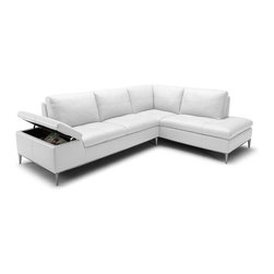VIG Furniture - Gardenia Full White Top Grain Leather Sectional Sofa With Built-in Storage - The Gardenia sectional sofa will add a elegant modern touch to any decor it's placed in. This sectional comes fully upholstered in a beautiful white top grain leather. High density foam is placed within the cushions for added comfort. The sectional features a built-in storage area underneath a lift top armrests. Attached to the bottom are stainless steel leg supports with a polished finish.