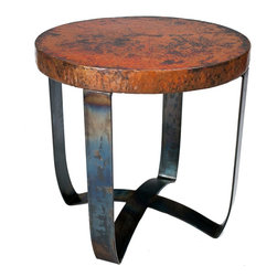 Round Strap End Table with Hammered Copper Top by Prima - Dimensions: (length x width x height)