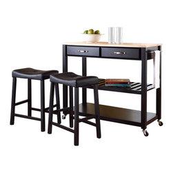 Crosley Furniture - Crosley Natural Wood Top Kitchen Cart/Island with Stools in Black - Crosley Furniture - Kitchen Carts - KF300514BK