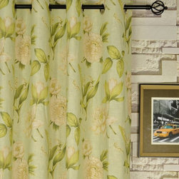 """84"""" L Printed Springtime Grommet Linen Window Curtains - The pattern is a simple all over leaf and flower prints set on a beige or subtle green background. With the easy-to-hang grommets, you will be able to draw the curtains with the most convenience."""