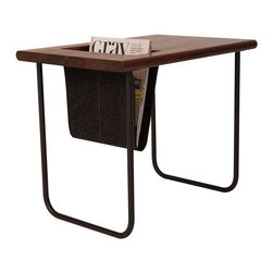 Ample - Hip Pocket Table, Charcoal Sling - The Hip Pocket is a side table with a bonus: an elegantly integrated sling that gobbles up your magazines, tablet, e-reader - whatever is cluttering up your living room.