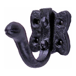 Renovators Supply - Robe Hooks Wrought Iron Black Wrought Iron Robe Hook - Our Single Hooks are most popular in entryways for coats, on bathroom doors for towels and robes. Our exclusive RSF coating protects this item for years to come. Clean up and get organized with these double hooks, they look fantastic in either a contemporary bathroom & kitchen or a Victorian hallway.