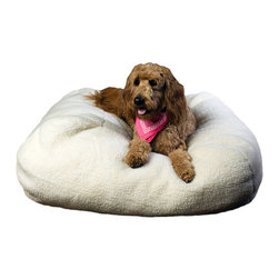 "Frontgate - Sherpa Puff Ball Pet Bed - 26"" dia. Dog Bed - Zippered sherpa cover is removable for machine washing and drying. 100% polyester high loft fill. Available for pets of any size. This Sherpa Puff Ball Pet Bed is great for nesting, burrowing, and creating secret hiding spaces. Dogs and cats alike will love the snuggly softness of this beanbag style bed. . . ."