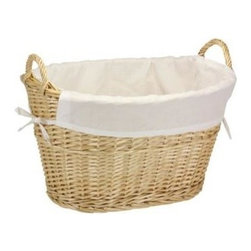 Household Essentials - Split Willow Lined Laundry Basket with Handles, Natural - Our Split Willow Lined Laundry Basket with Handles in natural color has a sturdy and natural look. The basket has two handles which makes carrying laundry to and from the machine or from the clothesline easy. It has cream-colored liner which attaches around the handles, staying firmly in place so delicate fabrics won't snag. This durable basket keeps laundry manageable with charm and simplicity.