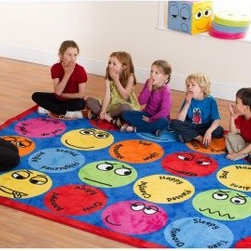 Kalokids Emotions Interactive Rectangular Carpet - Teach children to talk about their feelings and discuss them with peers with the Kalokids Emoticons Interactive Rectangular Carpet. This rug features 12 different emotional facial expressions with keywords to facilitate group discussions about feelings. Featuring a heavy duty pile, anti-slip backing, and soft textured finish, this rug is perfect for school or playroom settings. It's also large enough that children can sit on it during group activities or lessons.About KalokidsKalokids mission is creating practical, innovative products for the growth and development of children's minds, bodies, and overall sense of well-being. Their stringent quality standards have been internationally recognized and they are continuously improving processes to enhance the final product as well as customer satisfaction. They utilize their in-house design team to react quickly to consumer demands and evolving markets. Every aspect of each design is carried out by their team. Kalokids designers work closely with team members who research the market to bring the latest concepts to fruition.