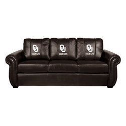 Dreamseat Inc. - University of Oklahoma NCAA White Logo Chesapeake Brown Leather Sofa - Check out this Awesome Sofa. It's the ultimate in traditional styled home leather furniture, and it's one of the coolest things we've ever seen. This is unbelievably comfortable - once you're in it, you won't want to get up. Features a zip-in-zip-out logo panel embroidered with 70,000 stitches. Converts from a solid color to custom-logo furniture in seconds - perfect for a shared or multi-purpose room. Root for several teams? Simply swap the panels out when the seasons change. This is a true statement piece that is perfect for your Man Cave, Game Room, basement or garage.