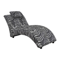 Chelsea Home - Zebra Chaise Lounge - Seating comfort: Medium. Seat cushion attached. Seat back cushion attached. Seat cushion is not reversible. No sag sinuous spring system used. Dacron wrapped 1.5 density foam cushions. Made from polyester and hardwood. Made in USA. No assembly required. 64 in. L x 29 in. W x 30 in. H (75 lbs.)