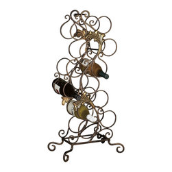 "Dessau Home - Dessau Home Florence Wine Rack 12 Bottles Bronze Iron W/Brass - Dessau Home Florence Wine Rack 12 Bottles Bronze Iron W/Brass. Dimensions: 32""H"