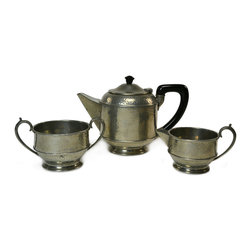 Lavish Shoestring - Consigned Teapot Sugar and Creamer Set in Pewter, Vintage English, 1930s-40s - This is a vintage one-of-a-kind item.