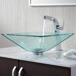 """Kraus C-GVS-901-19mm-15100CH Clear Aquamarine Glass Vessel Sink & Typhon Faucet - APPLY COUPON CODE """"EDHOUZ30"""" AT CHECKOUT. JUST OUR WAY OF SAYING THANKS."""