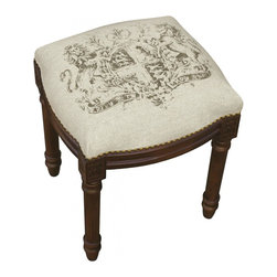 123 Creations - Crest, Printed Linen and Wooden Stool. Wood stain finish. - This unique hand-printed vanity stool accents your rooms and provides beautiful extra seating. Solid wood frame is hand-carved with hand-applied brass nail heads.