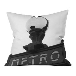DENY Designs - DENY Designs Khristian A Howell Le Metro Throw Pillow - The infamous Paris metro. Get the Art Nouveau look with the DENY Designs Khristian A Howell Le Metro Throw Pillow, featuring a black and white photo print of one of Paris' metro signs. Printed with a special six-color dye process, the woven polyester cover will keep its color for years to come. Support art while creating a new home: DENY works with artists and art communities from all over the world to create custom home decor accessories just for you. Be a part of the most romantic city on Earth without leaving home!Custom printed to orderFade resistantWoven polyester coverConcealed zipper6-color dye processKhristian A Howell collection