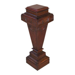 MBW Furniture - Solid Mahogany Square Fern Plant Stand w/ Removable Top - This is a gorgeous solid mahogany square plant stand. It features a convenient removable top surface and it is beautifully adorned with carved accents. It has a gorgeous shaped pedestal with floral carvings and a traditional square base with a beveled top and fluted accents. Add a touch of elegance to your home decor with this beautiful piece of furniture!