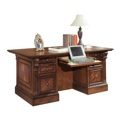 Parker House - Parker House Huntington Double Pedestal Executive Desk in Vintage Pecan - Parker House Furniture is a family owned company offering high quality home office and home entertainment furniture since 1946. They are committed to offering 100% customer satisfaction and make customer service a number one priority. Parker House Furniture manufactures luxurious collections in a variety of rich finishes that are accented with classy details. Wide range of entertainment centers, home office furniture, library walls, and a great selection of media centers are just some of the items they provide to make you home beautiful and unique. Instantly create a warm, sophisticated, and luxurious atmosphere in your home with the Huntington collection of fine home entertainment, home office, and home library furnishings. A rich Antique Vintage Pecan finish with gorgeous accent shading, highlighting, hand distressing and medium sheen top coat adds incredible depth and highlights the intricate details in the traditional English design of the collection.