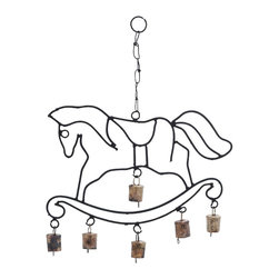 Metal Horse Wind Chime with Fascinating Design - Create an ambience of health and happiness in your home with this Long Lasting Metal Horse Wind Chime with Fascinating Design. It depicts the outline of a horse on a curvy base, this metal horse wind chime looks gorgeous. It adds great ambience and elegance to its surrounding with its fascinating design and creative shape. More than decorating your living room, it brings more dynamism and energy into your home. Ideal to be hanged on the corners of your living room, it creates a melancholic atmosphere. It can also be used to decorate the outdoor areas like porch or patio. The metallic bells are attached to the lower end of the metal wind chime. The bells beautifully sway to breeze currents and create an inspiring sound that soothes your senses.. It comes with a dimension: