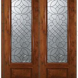 """Prehung Entry Double Door 96 Wood Alder Savoy 1 Panel 3/4 Lite Glass - SKU#E18042-G-DE834P2BrandGlassCraftDoor TypeExteriorManufacturer Collection3/4 Lite Entry DoorsDoor ModelSavoyDoor MaterialWoodWoodgrainKnotty AlderVeneerPrice5255Door Size Options  +$percentCore TypeDoor StyleDoor Lite Style3/4 LiteDoor Panel Style1 PanelHome Style MatchingDoor ConstructionEstanciaPrehanging OptionsPrehungPrehung ConfigurationDouble DoorDoor Thickness (Inches)1.75Glass Thickness (Inches)Glass TypeTriple GlazedGlass CamingOil Rubbed Bronze , Black , Satin NickelGlass FeaturesTempered , BeveledGlass StyleGlass TextureGlass ObscurityDoor FeaturesDoor ApprovalsWind-load Rated , SFI , TCEQ , AMD , NFRC-IG , IRC , NFRC-Safety GlassDoor FinishesDoor AccessoriesWeight (lbs)719Crating Size25"""" (w)x 108"""" (l)x 52"""" (h)Lead TimeSlab Doors: 7 Business DaysPrehung:14 Business DaysPrefinished, PreHung:21 Business DaysWarrantyOne (1) year limited warranty for all unfinished wood doorsOne (1) year limited warranty for all factory?finished wood doors"""