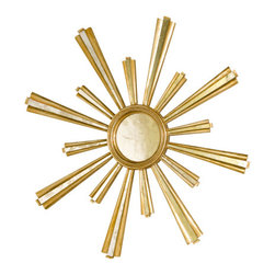 Worlds Away Hand Carved Gold Jackie Star Mirror - Hand carved gold leaf and antique mirror starburst mirror.