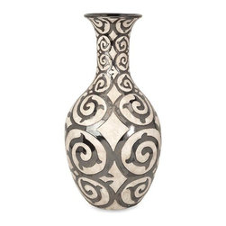 iMax - Benigna Oversized Tall Floor Vase - With a muted bronze pattern raised from a cream finished bodice, the tall Benigna oversized floor vase has a sophisticated and luxurious appeal.