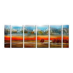 Pure Art - Recoiled Sky Landscape Metal Art Set of 6 - This is a large, six-panel wall art whose sheer size reflects the size of the landscape depicted within. It features a intensely colorful sunset: the lower portion of the sky is a deep, hot shade of orange and the blue sky above captures the inky darkness of early twilight, the sky dotted by ribbons of cumulus clouds.Made with top grade aluminum material and handcrafted with the use of special colors, it is a very appealing piece that sticks out with its genuine glow. Easy to hang and clean.