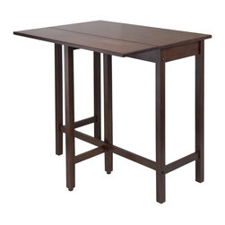 Deluxe Comfort - Lynnwood Drop Leaf High Table - This versatile high table is space saving and functional. A leaf is folded down for space saving and when in use lift up the leaf for an extension of top surface. Top table area when leaf is up 39.37-inch w by 30-inch d by 35.43-inch h. Table when leaf is folded 39.37-inch w by 20.70-inch d by 35.43-inch h. Drop leaf 39.37-inch w by 10.31-inch d. Constructed in solid wood in warm antique walnut finish. Ready to assemble.