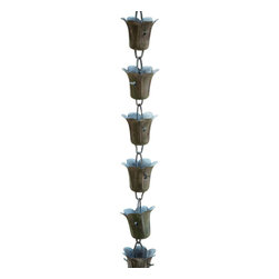 "Monarch International Inc - Copper Tulip Rain Chain in Green Patina Finish 8.5 Ft - A perfect assembly of 27 cups -2.5X 2.5"" cup size is eye-catching and functional while it efficiently transports water from the gutter."